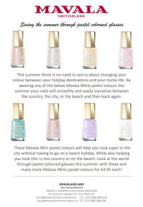 PRODUCT FOCUS: Pastel Nail Shades from Mavala. Available from pharmacies nationwide.